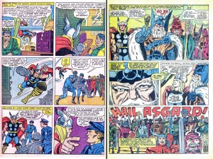 On the left: From Journey into Mystery #107, August 1964, by Stan Lee, Jack Kirby and Chic Stone. On the right: From Thor #140, May 1967, by Stan Lee, Jack Kirby and Vince Colletta. Click to enlarge. (Images © Marvel)