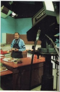 Vincent Price on set of his English cooking show.